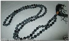Jet Original Snowflake Obsidian Prayer Japa Mala 7-8 mm 108 + 1 Prayer A++ Beads