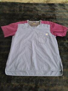 Carhartt Womens Medium Gray Red V Neck Scrubs Shirt Short Sleeve