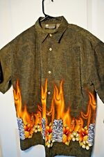 Extreme Gear Boys Island Tropics Hawaiian Button Front Shirt XL 18-20 Tiki Flame