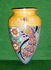 Wall Pocket Japan M in Flower Lustreware Vase Elaborate Raised Peacock Flowers