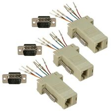 3x RS232 DB9 Male to RJ45 Female M/F Modular Adapter Connector Extender Ivory