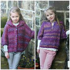 KNITTING PATTERN Girls Easy Knit Hooded Short Sleeve Poncho Jumper Chunky 4667