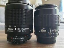 Nikon NIKKOR AF 80-200mm f/4.5-5.6 AF-D Lens and  35-80mm