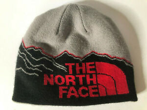 The North Face Youth/ Junior Beanie Hat - Grey/Black/Red - Size Medium
