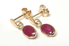 9ct Gold Ruby Oval Drop Earrings Gift Boxed Made in UK