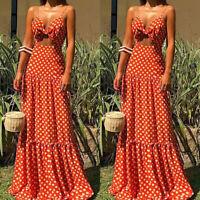 Women Summer Polka Dot Strappy V Neck Cut Out Party Long Maxi Dress Sundress