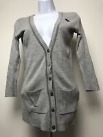 Abercrombie &  Fitch cardigan letterman sweater Gray Women's XS (C6)
