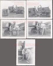 5 Vintage Photos Men Welding Repair Construction Tractor Dump Truck 713616