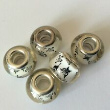 5 x Glass European beads abacus rondelle Butterfly Silver double core 5mm hole