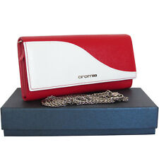 CROMIA Made in Italy women's red and white leather wallet purse mini clutch bag