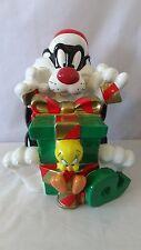 Warner Brother 1998 Christmas Santa Claus Sylvester and Tweety Cookie Jar #A3961