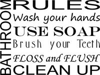 WALL DECAL QUOTE VINYL LETTERING BATHROOM RULES SUBWAY ART WORDS
