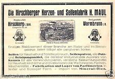 Seifenfabrik Maul Hirschberg Jelenia Gora Reklame 1923 Seife Kerzen Warmbrunn Ad