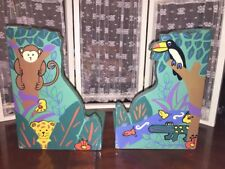 Hand Painted MONKEY ALLIGATOR JUNGLE Wood Bookends GREEN VTG