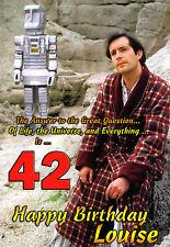 42 Happy Birthday La HITCHHIKER'S GUIDE per la galassia PERSONALIZZATA CARTOLINA ARTISTICA TV