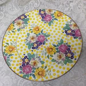 MacKenzie Childs, Rare, Buttercup-Yellow Polka Dot Cake Platter 16in D