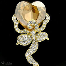"""2.9"""" Luxury Topaz Clear Crystal Flower Heart Pin Brooch Christmas 14K G Plated"""