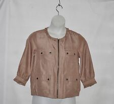 Linea by Louis Dell'Olio Zip Front Jacket with Ruffle Detail Size S Hemp