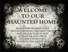 HALLOWEEN PROP PRIMITIVE DISTRESS  WOOD SIGN PRINT - MAN CAVE - HAUNTED HOUSE