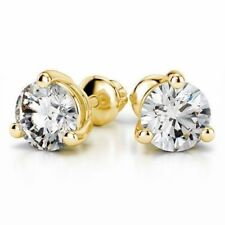 Stunning 0.40 Cts Round Brilliant Cut Diamonds 3-Prong Stud Earrings In 18K Gold