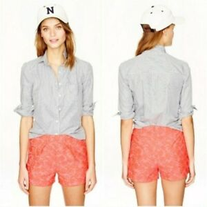 J.Crew Size 8 Bright Neon Coral Jaquard Tap Shorts Pink Casual Pattern