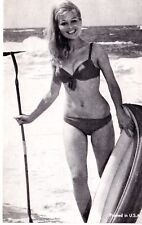 Vintage USA Arcade Card - plain back - 1960's Bikini Beauty at beach, E