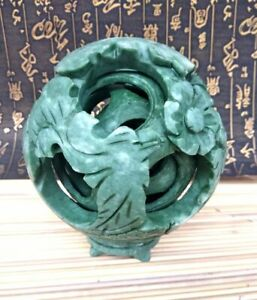 Mystical Interlink Puzzle Ball 6 Layer Cover Sphere Dragon Totem By Green Jade