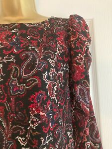 C9 BNWT NEXT Red Black Paisley Gathered Sleeve Shift Dress 18 Petite