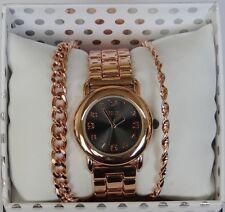 NIB Women's Folio Rose Gold/Black Wrist Watch w/ Bracelets Gift Set SALE