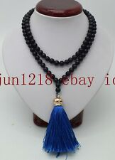 8mm Prayer Beads Mala Necklace Aaa Tibet Buddhist 108 Galaxy Stars Blue Sand