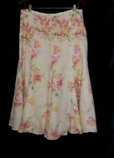 Ralph Lauren Pastel Yellow Floral Flared Lined Linen Skirt Size 10 Spring!