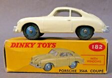 1950's Dinky #182 PORSCHE 356A COUPE with Windows CREAM diecast BOXED x2