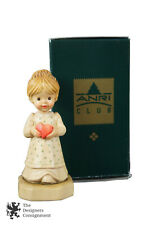 Vintage Anri Club Figurine w Box Gift of Love Sarah Kay Italy Carved Girl Heart