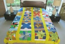 """Vintage All Cotton Hand Pieced STAR Quilt TOP; Snoopy Print & Others; 88"""" x 72"""""""