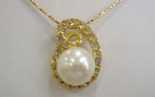 Real White Freshwater Pearl Crystal 18KGP Bud Women Girl Pendant Chain Necklace