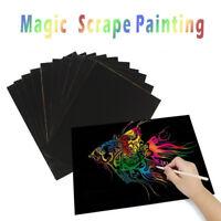 Magic Rainbow Scratch Art Painting Book Scratch Paper Art Educational Kid Toy