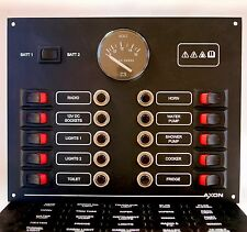 10 Way Marine Circuit Breaker & Rocker Switch Panel with Volvo Penta Voltmeter