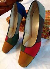 Naturalizer 1970's Women's Color Block Suede Pumps, Low Heels - 8.5 Narrow
