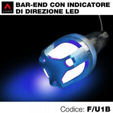 Kit 2 terminali manubrio universali bar end con indicatori direzione led blu