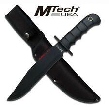"M-TECH USA 14"" BLACK CLIP POINT FIXED BLADE W/ HARD RUBBER GRIP HANDLE + SHEATH"