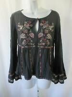 American Eagle Outfitters Babydoll Top Sz S Boho Embroidered Flared Sleeve