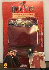 Harry Potter Quidditch Costume Kids Robe Goggles Golden Snitch Halloween - NIB