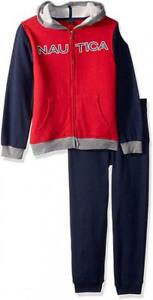 Nautica Boys Red Zip-Up Hoodie 2pc Sweatsuit Size 2T 3T 4T 4 5 6 7