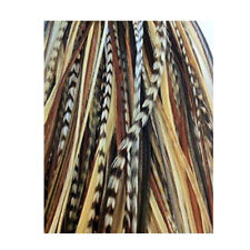 5-7 inch Black with Browns & Beige 100% Real Hair 5 Feather Extensions bonded