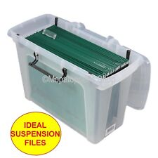Pack Of 3 Clear Plastic Storage Boxes Box & Lid A4 or Foolscap Suspension Files