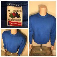 Lot of 3 VTG deadstock Fruit Of The Loom blue Blank 50/50 Crewneck Sweatshirts