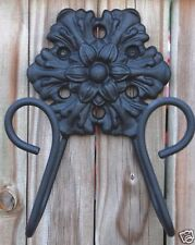 IRON ROSETTE GARDEN HOSE SOLID STEEL AND IRON HANGER WALL MOUNTED BUTLER HH005