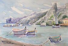 Grande aquarelle Marseille bateau mer bateaux Provence