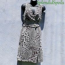 LEOPARD BROWN ON IVORY CHIFFON SIZE-6-8 LINED SLEEVELESS MLLE GABRIELLE DRESS