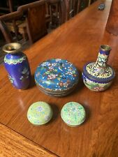 Antique Chinese Five Bronze Cloisonne Box And Vase Qing China Asian